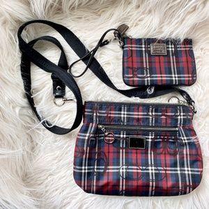 Coach Signature Poppy Tartan Plaid Bag Bundle